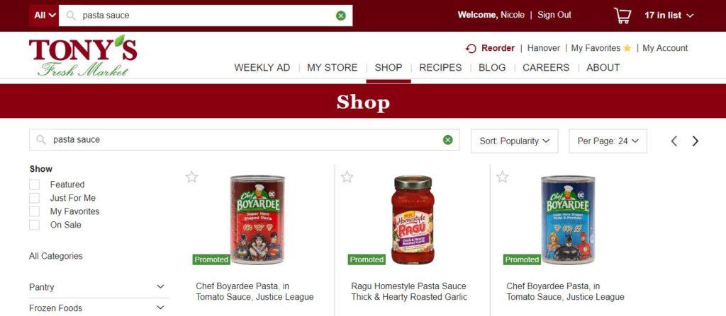 Tony's Fresh Market Pick Up Search Bar