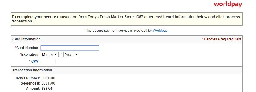Tony's Fresh Market Pick Up Payment